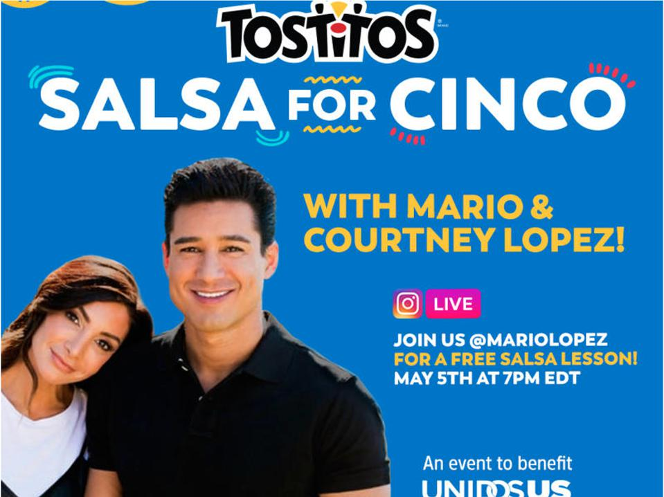 Mario & Courtney Lopez give an online dance class to celebrate Cinco de Mayo for Tostitos brand