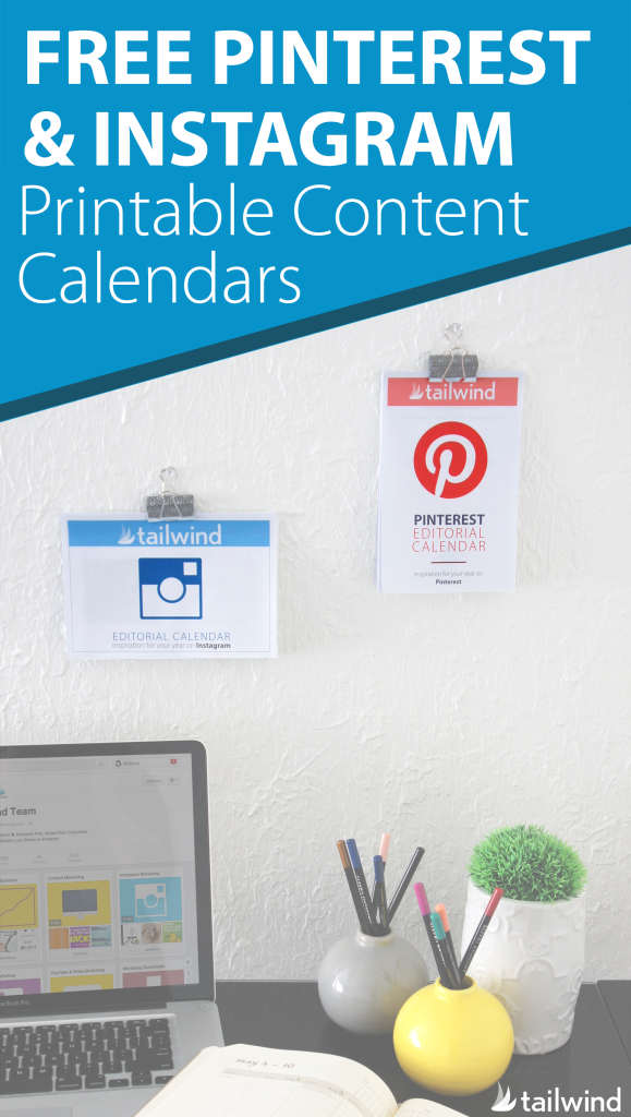 FREE Printable 2016 Pinterest & Instagram Content Calendars