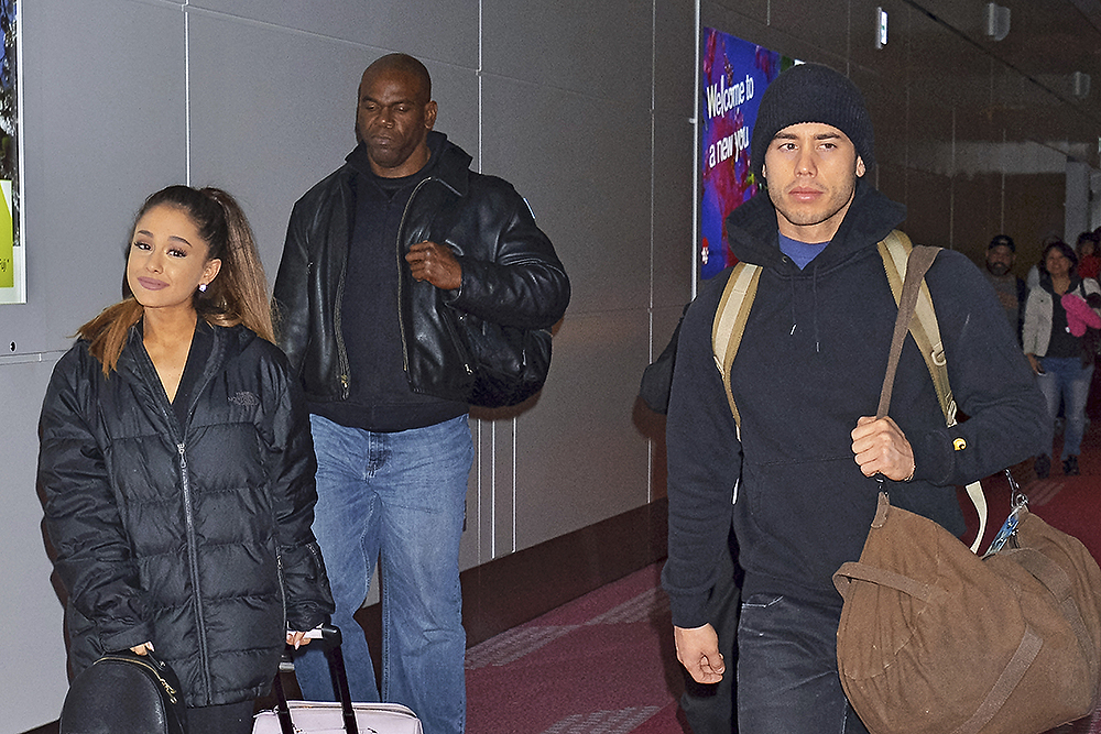 Singer Ariana Grande and her boyfriend Ricky Alvarez are seen upon arrival at Tokyo International Airport in Tokyo, Japan, on April 11, 2016. Photo by: Kento Nara/Geisler-Fotopress/picture-alliance/dpa/AP Images