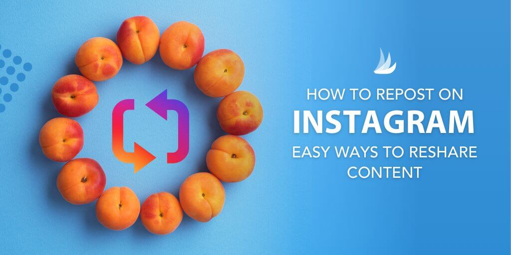 Peaches arranged in a circle with the text: How to Repost on Instagram: Easy Ways to Reshare Content