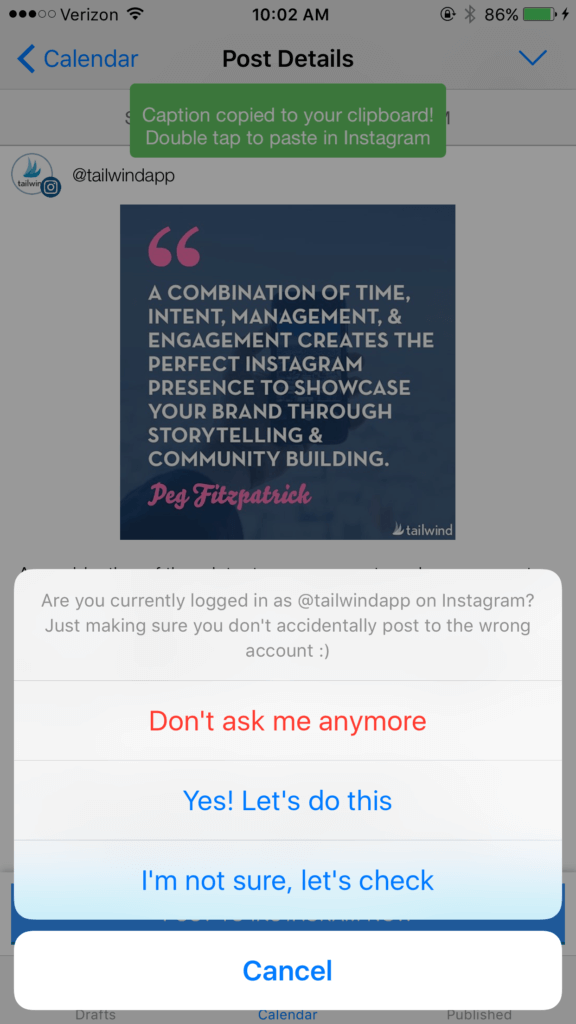 Check on which Instagram account you're logged into