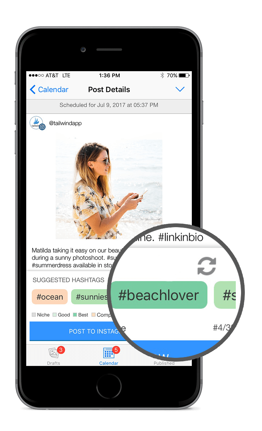 The Tailwind App features Hashtag Finder and a shuffle button to access all the hashtags
