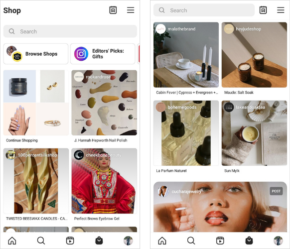 Screenshots of the Instagram Shop interface on an Android phone