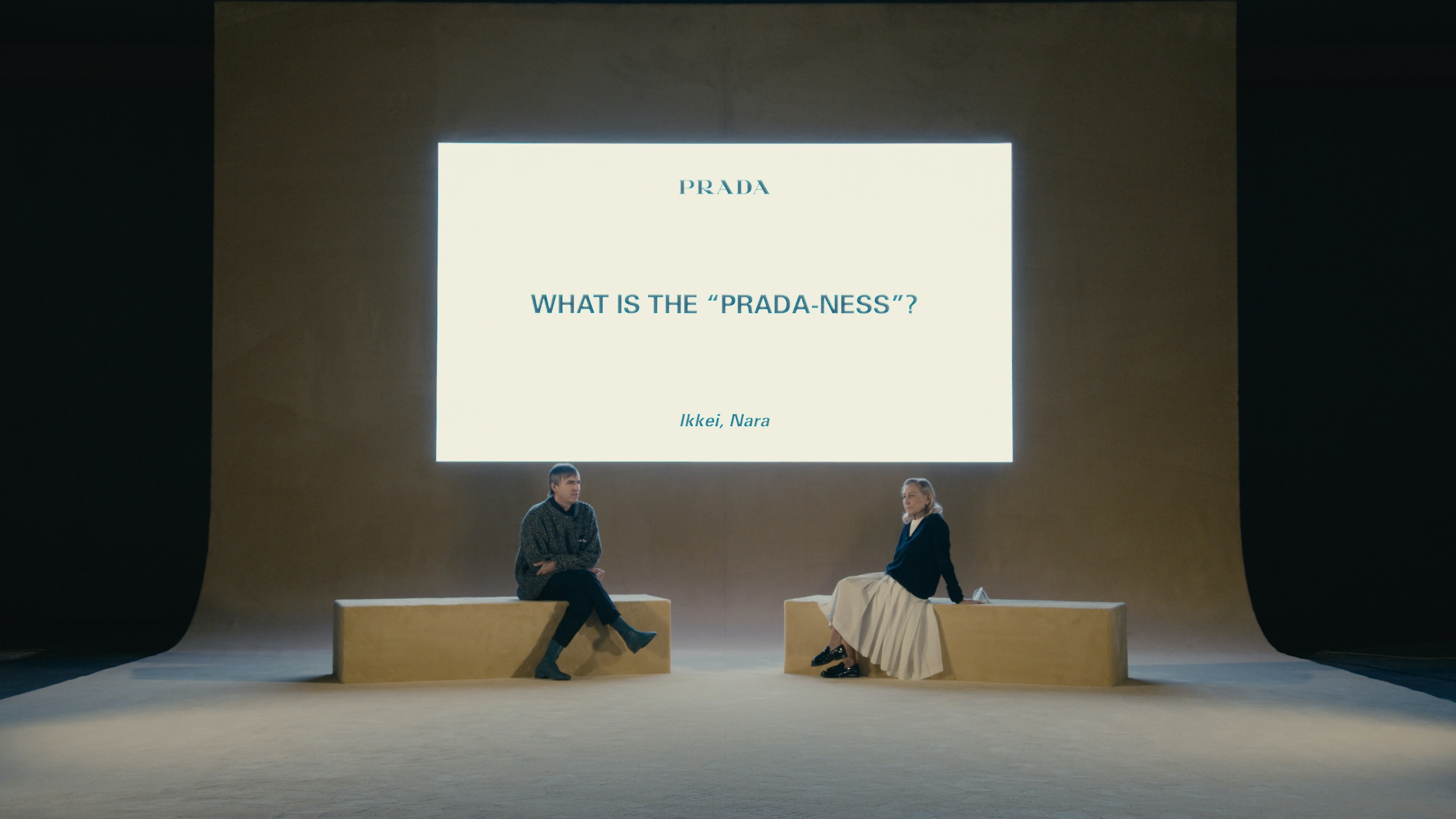 Raf Simons in conversation with Miuccia Prada after the Prada Spring/Summer 2021 show in Milan | Source: Courtesy