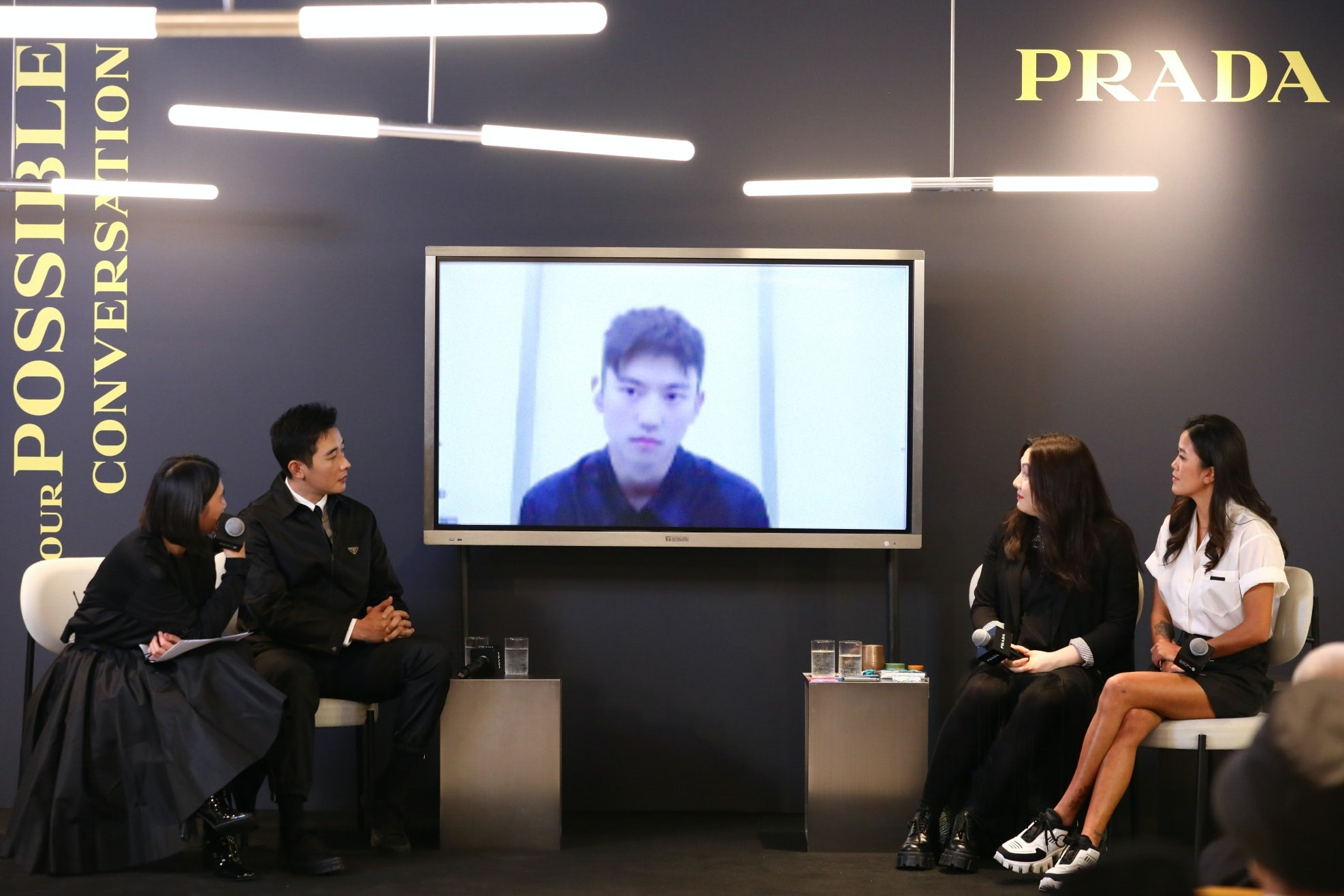 Surfer Monica Guo, actor Luo Jin, architect and professor Lyla Wu and swimmer Ning Zetao discuss ocean conservation at Prada's 'Possible Conversations' talk on December 9, 2020. Prada.