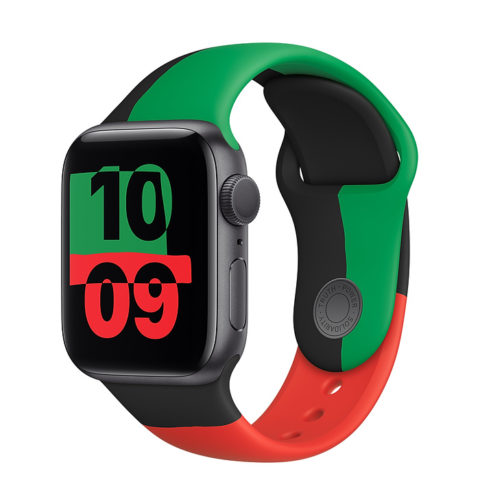 The Apple Watch Series 6 Black Unity case in the colours red, green and black released for Black History Month