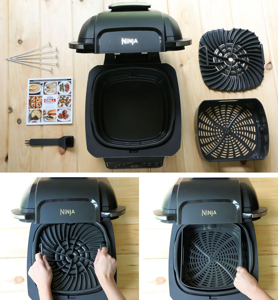 Everything that comes in the box with the Ninja Foodi Grill including grill grate, air fry basket, skewers and recipe book