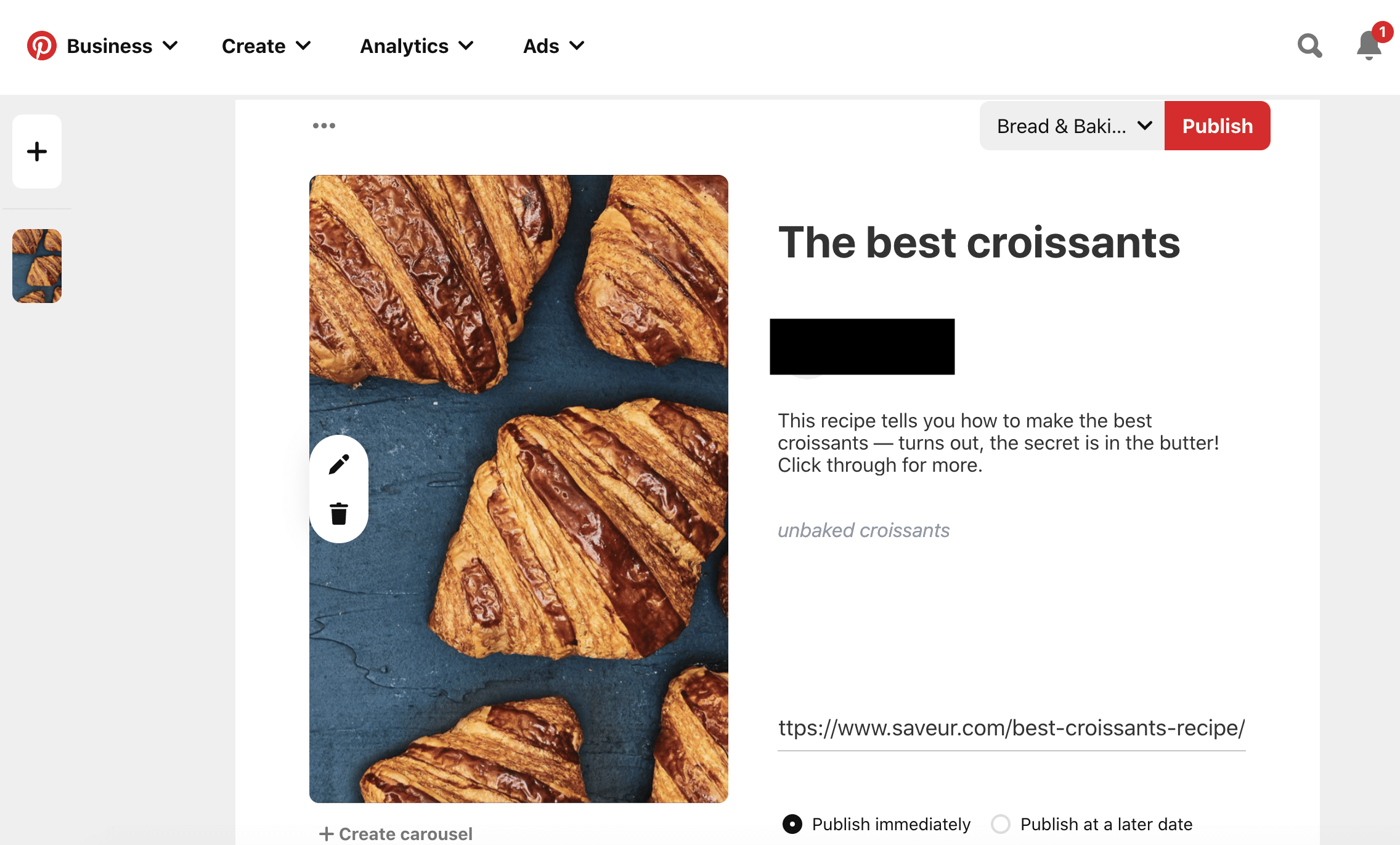 croissants bread and baking board