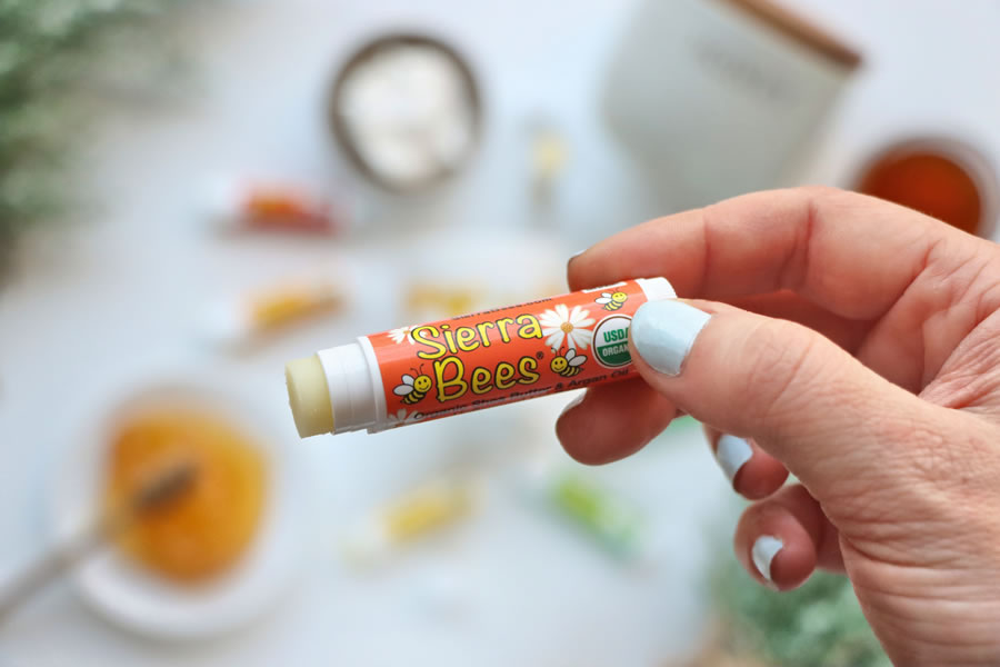 all natural Sierra Bees Lip Balm made with organic ingredients honey beeswax vitamin e