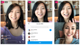 3 stills from an influencer's live stream showing her face on screen