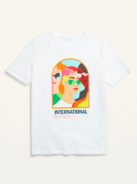 """A colourful T-shirt feature three women's heads that reads """"International women's day"""""""
