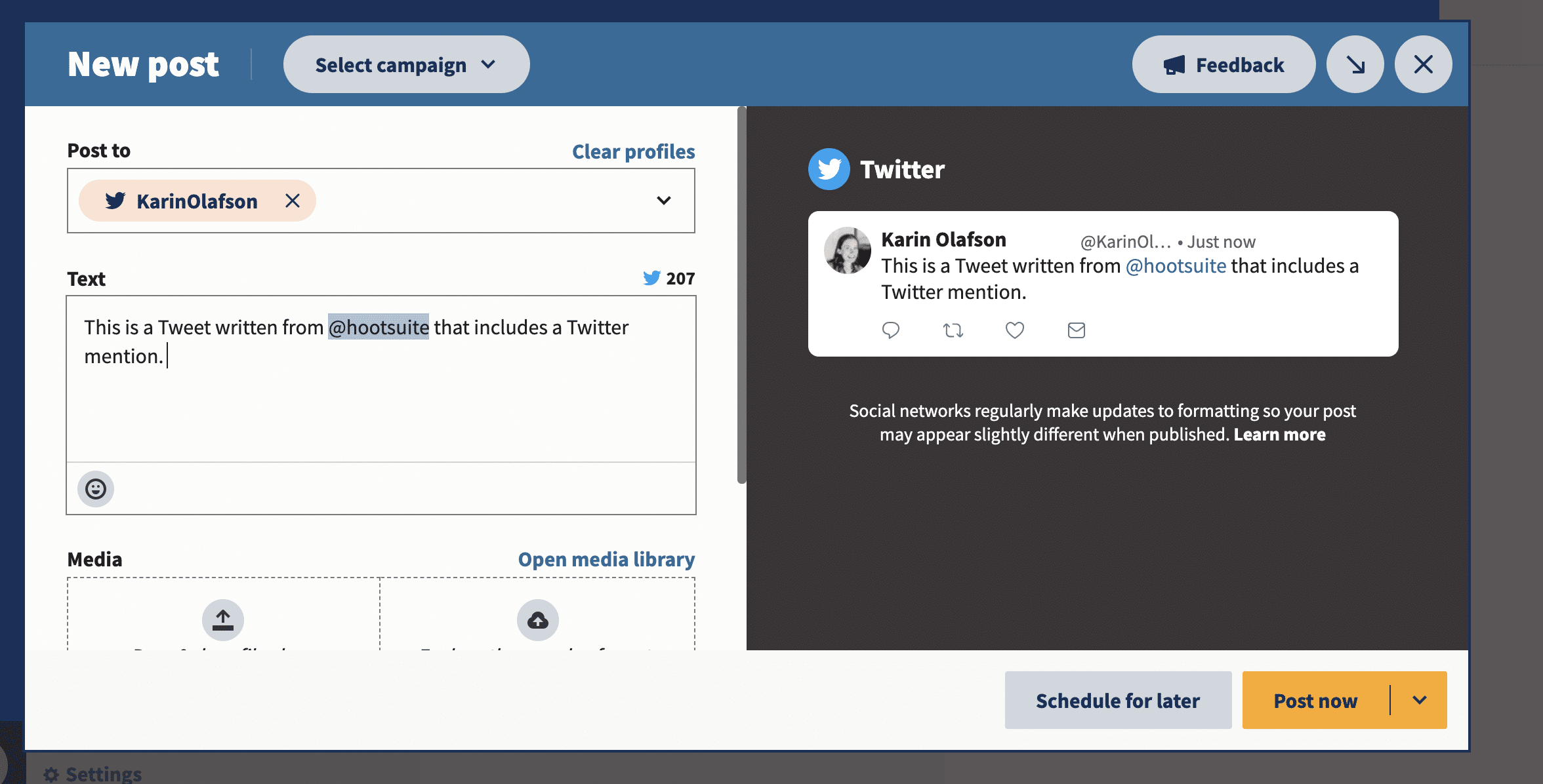 include mentions when writing Tweets on Hootsuite