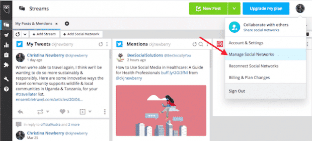 "Option to ""Manage Social Networks"" in Hootsuite"