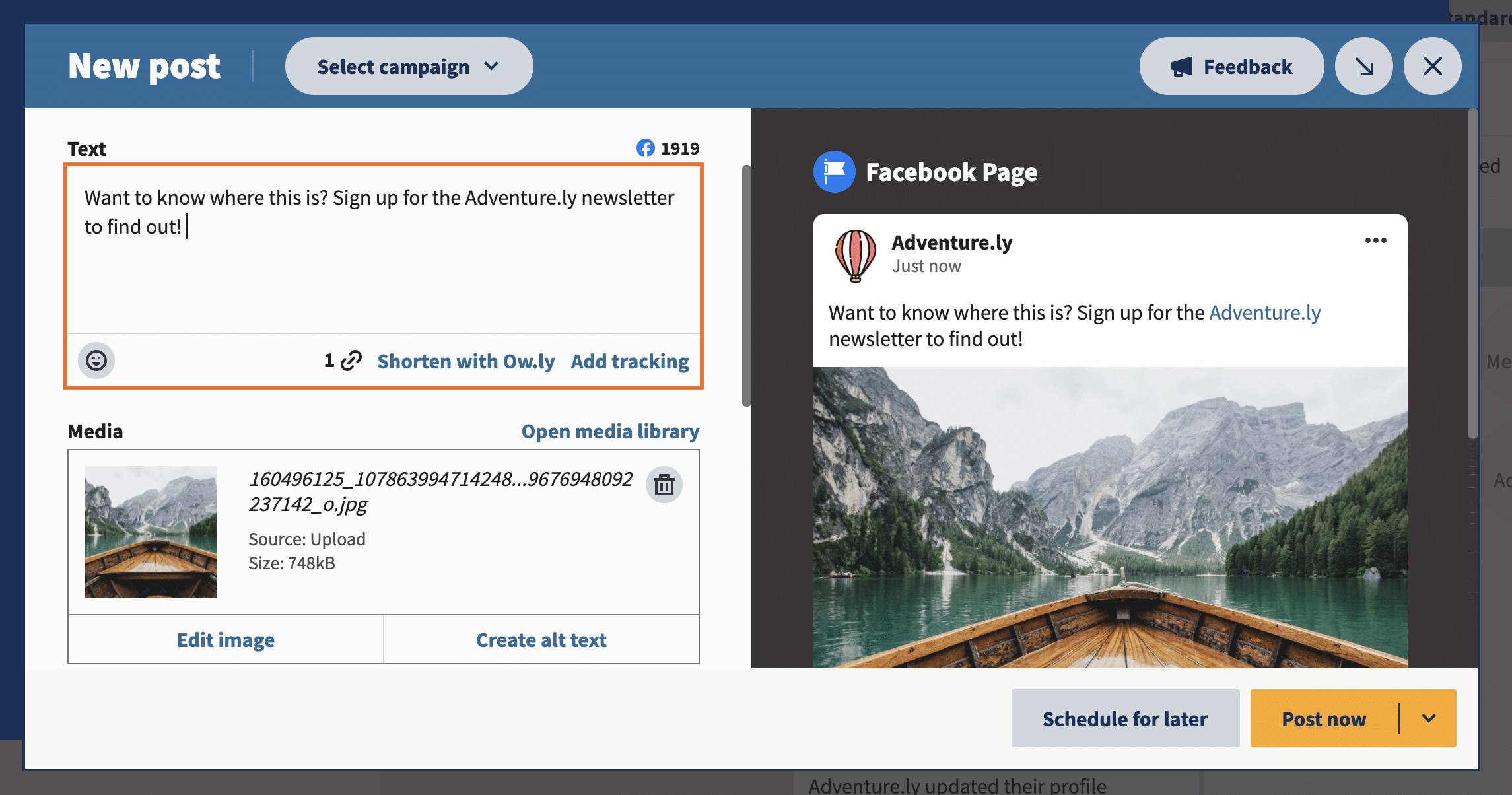 create post with text image and link