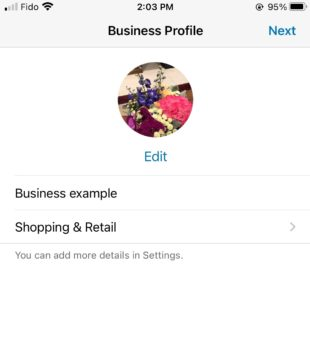 fill in details on business profile