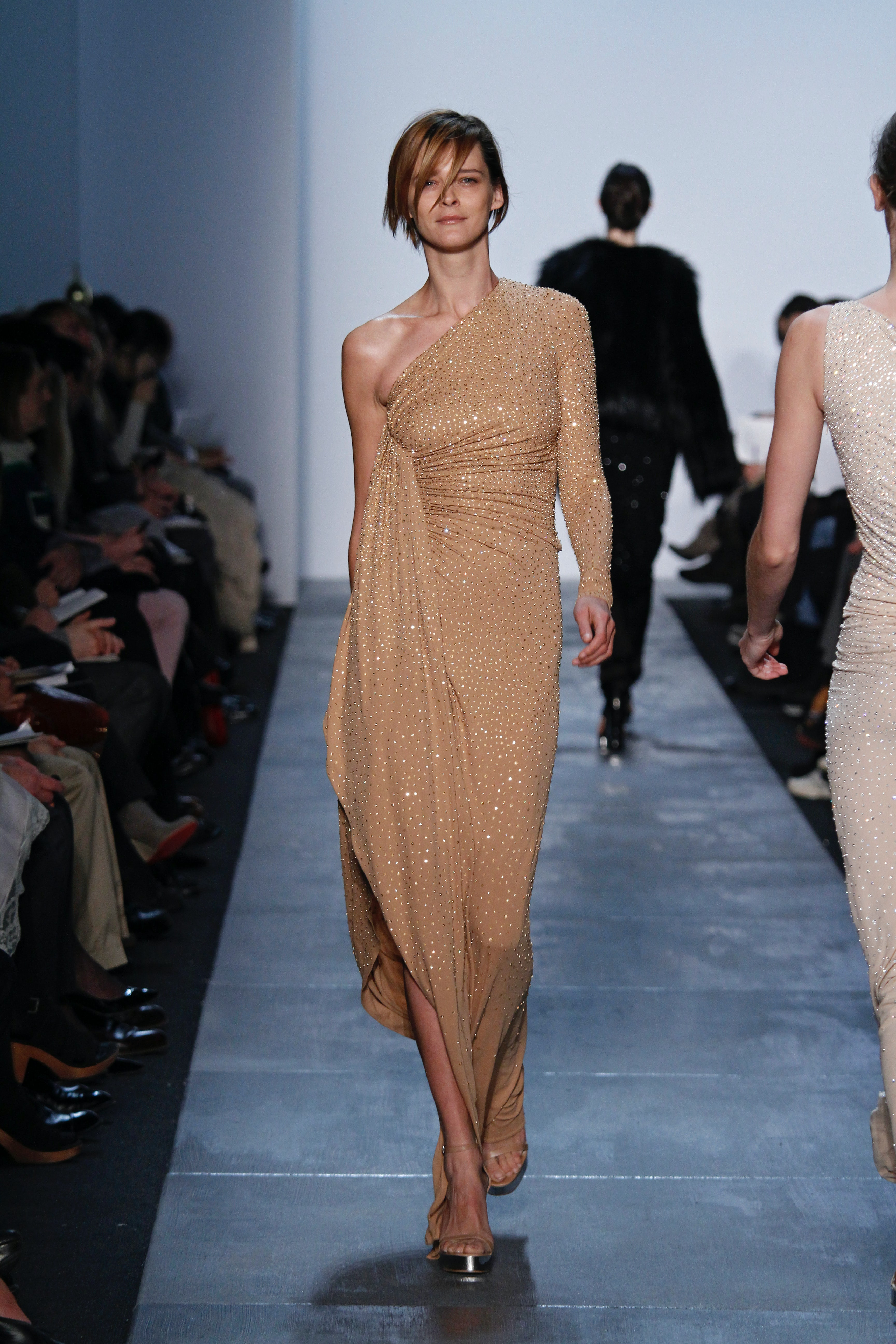 Look 63 from Michael Kors' 30th anniversary Autumn/Winter 2011 collection worn by Carmen Kass. Michael Kors.