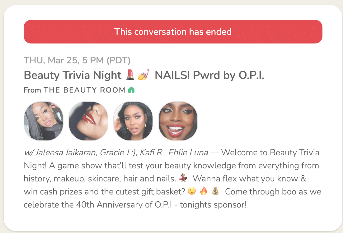 Beauty Trivia Night O.P.I. room sponsorship