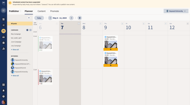 screenshot showing Hootsuite's pause functionality
