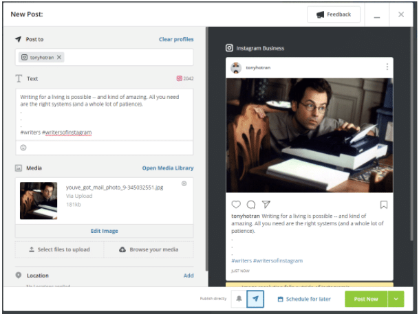 How to post on Instagram from PC using Hootsuite step 6: Post Now button in Hootsuite (and also Schedule for Later)