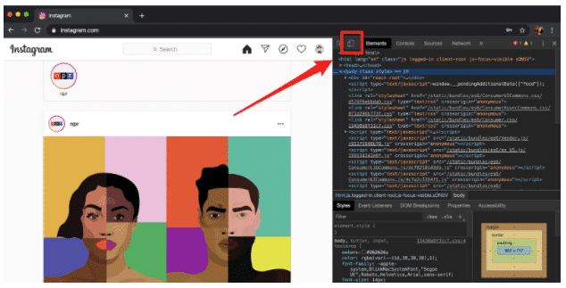 How to post on Instagram from PC step 4: Mobile button in Chrome developer window