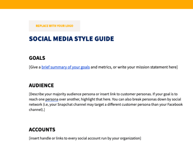 social media style guide template preview