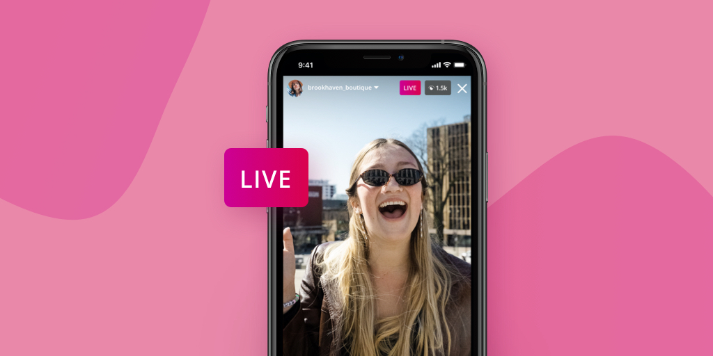 A screengrab of an Instagram Live on a phone atop a pink background.