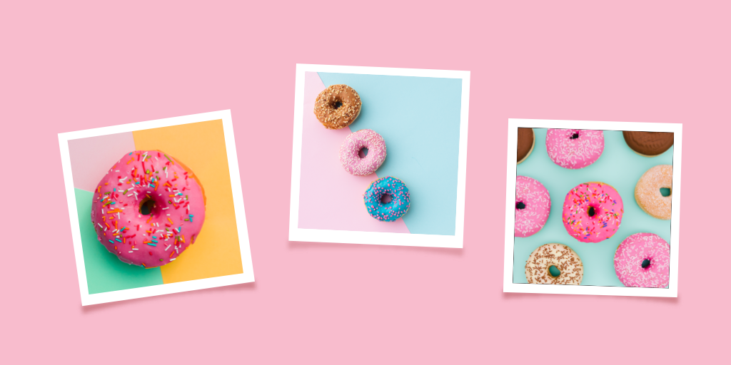 How to Post Instagram Carousels with Tailwind - three polaroids of donuts on pink background