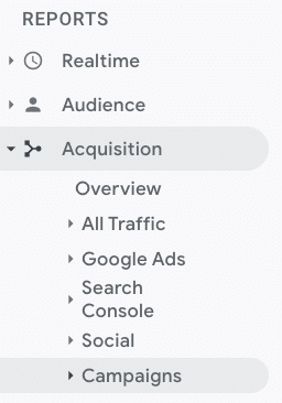 reports tab acquisition and campaigns