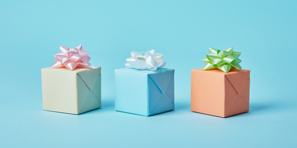 Gifts on blue background